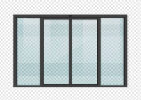 Double sliding glass doors with automatic motion sensor. vector design. Ilustración de vector