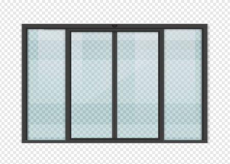 Double sliding glass doors with automatic motion sensor. vector design. Ilustração Vetorial