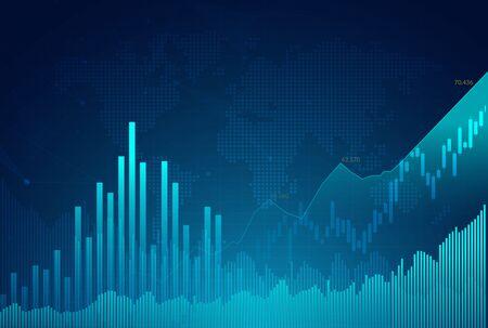 Graphique de graphique de bâton de bougie de commerce d'investissement de marché boursier, point haussier, point baissier. tendance de la conception de vecteur graphique.