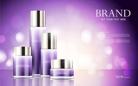 cosmetic product poster, bottle package design with moisturizer cream or liquid, sparkling background with glitter polka, vector design.