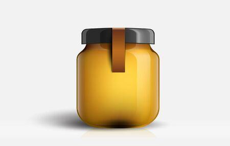Jam jar glass isolated on white background.