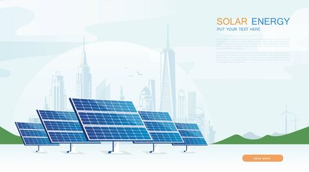 Ecology solar cell system diagram. Can be used for workflow layout, banner, diagram, web design, timeline, info chart, statistic brochure template. 벡터 (일러스트)