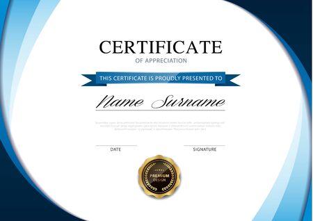 modèle de certificat de diplôme couleur bleu et or avec image vectorielle de luxe et de style moderne. Vecteurs