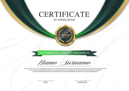 diploma certificate template green and gold color with luxury and modern style vector image. Ilustracje wektorowe