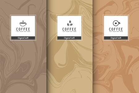 Chocolate bar packaging set. Trendy luxury product branding template with label pattern for packaging. Vector design. Vector Illustration