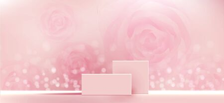Cosmetic background for product, branding and packaging presentation. geometry form square molding on podium stage with shadow of rose glitter particles background. vector design.
