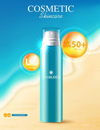 Hydrating facial sunscreen for annual sale or festival sale. orange cream mask bottle isolated on glitter particles background for product presentation. Graceful cosmetic ads, Vector illustration
