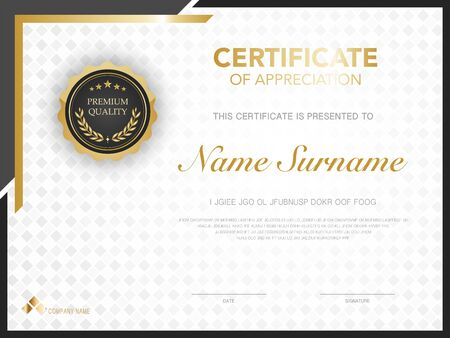 diploma certificate template black and gold color with luxury and modern style vector image. Banque d'images