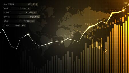 Financial stock market graph on stock market investment trading, Bullish point, Bearish point. trend of graph for business idea and all art work design. vector illustration. Stock Photo