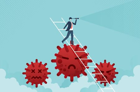 Business vision concept with businessman leader holding telescope on top of ladder above Coronavirus pathogen and Coronavirus COVID-19 pandemic causing financial crisis and economy recession. Vecteurs