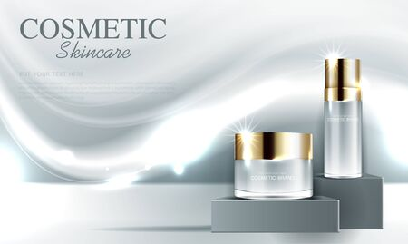 Cosmetics or skin care gold product ads with bottle and gray background glittering light effect. vector design.