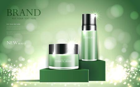 Cosmetics or skin care gold product ads green bottle and background glittering light effect. vector design. Çizim