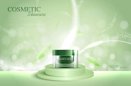 Cosmetics or skin care gold product ads green bottle and background glittering light effect. vector design. Illustration