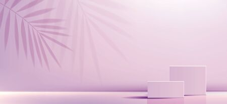 Cosmetic background for product, branding and packaging presentation. geometry form square molding on podium stage with pink glittering light effect background. vector design. Illusztráció