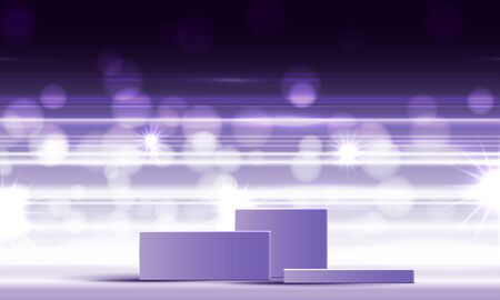 Cosmetic background for product, branding and packaging presentation. geometry form square molding on podium stage with purple glittering light effect background. vector design.