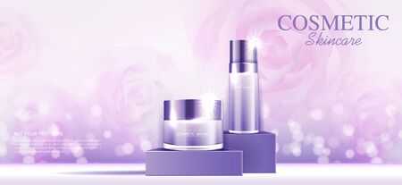 Cosmetics or skin care gold product ads purple bottle and background glittering light effect. vector design.