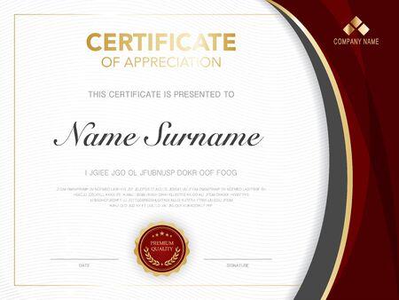 modèle de certificat de diplôme couleur rouge et or avec image vectorielle de luxe et de style moderne. Vecteurs