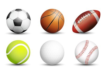 Soccer, Basketball, American football, Tennis, Golf and Baseball as healthy recreation and leisure fun activities for team and individual playing for health vector design.