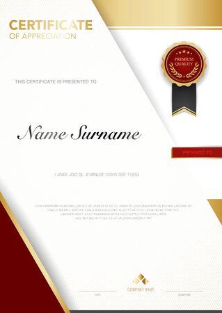 Diplomzertifikat Vorlage in Rot und Gold mit luxuriösem und modernem Vektorbild, geeignet für Wertschätzung. Vektor-Illustration.