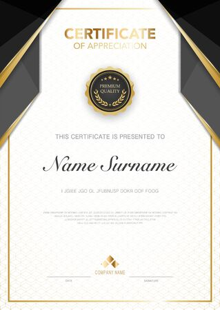 diploma certificate template black and gold color with luxury and modern style vector image. Ilustracje wektorowe