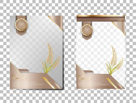 Rice Package Thailand food Products, Brown gold banner and poster template vector design rice. Ilustrace