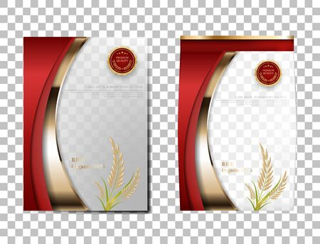 Rice Package Thailand food Products, red gold banner and poster template vector design rice. Reklamní fotografie - 150434753