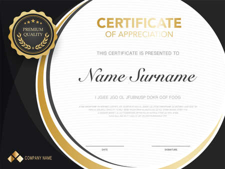 diploma certificate template red and gold color with luxury and modern style vector image, suitable for appreciation. Vector illustration.