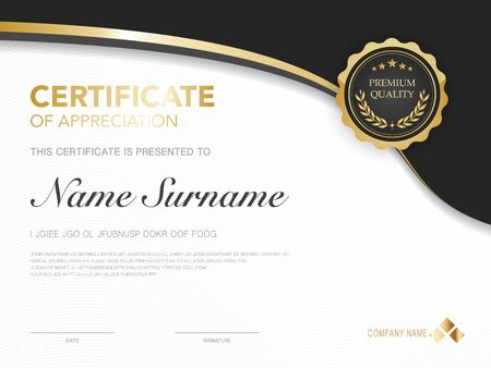 diploma certificate template red and gold color with luxury and modern style vector image, suitable for appreciation.  Vector illustration. Ilustração