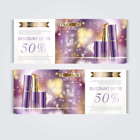 Gift voucher hydrating facial lipstick for annual sale or festival sale. purple and gold lipstick mask bottle isolated on glitter particles background. Banner graceful cosmetic ads, illustration. 向量圖像