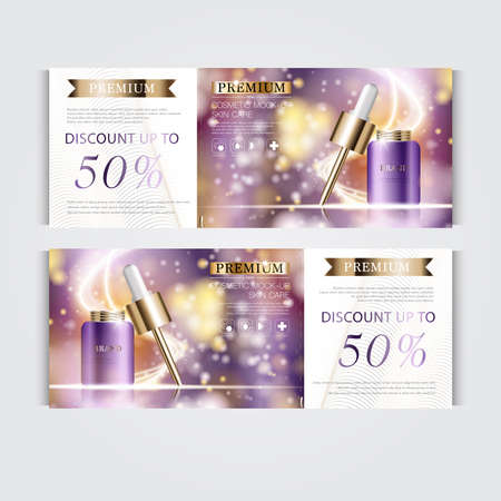 Gift voucher hydrating facial serum for annual sale or festival sale. purple and gold serum mask bottle isolated on glitter particles background. Banner graceful cosmetic ads, illustration.
