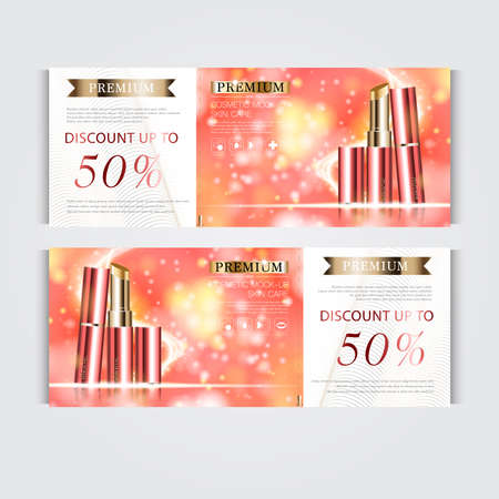 Gift voucher hydrating facial lipstick for annual sale or festival sale. red and gold lipstick mask bottle isolated on glitter particles background. Banner graceful cosmetic ads, illustration. 向量圖像