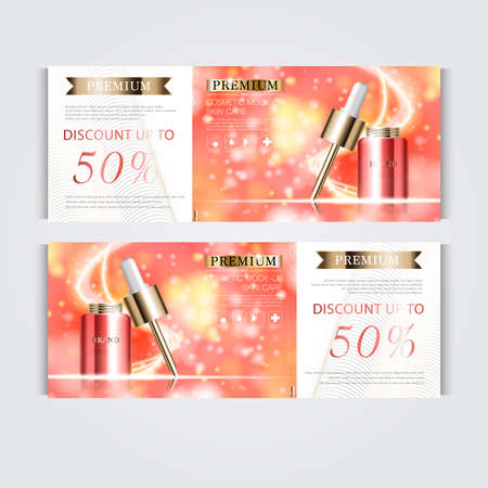 Gift voucher hydrating facial serum for annual sale or festival sale. red and gold serum mask bottle isolated on glitter particles background. Banner graceful cosmetic ads, illustration. 向量圖像