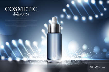 cosmetic product poster, bottle package design with moisturizer cream or liquid, sparkling background with glitter polka, vector design. Vetores