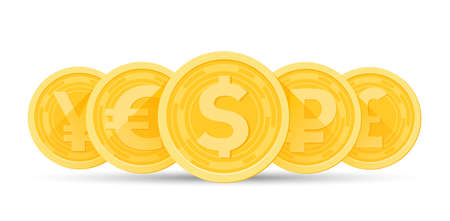 Set of gold currencies isolated on a white background. Vector illustration design.