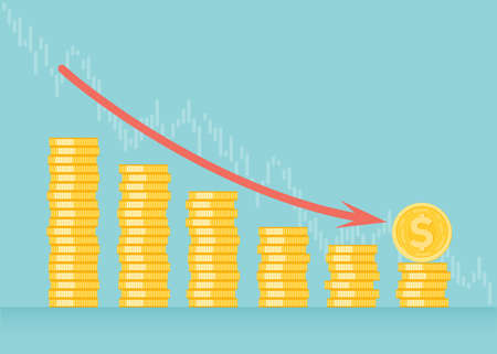 Financial growth concept with golden coin dollar. up or down income graph vector design. concept of monetary collection or strategy of profit or benefit making in business. 向量圖像