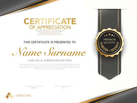 diploma certificate template red and gold color with luxury and modern style vector image, suitable for appreciation. Vector illustration. Vettoriali
