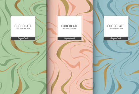 Chocolate bar packaging set. Trendy luxury product branding template with label pattern for packaging. Vector design. Ilustrace