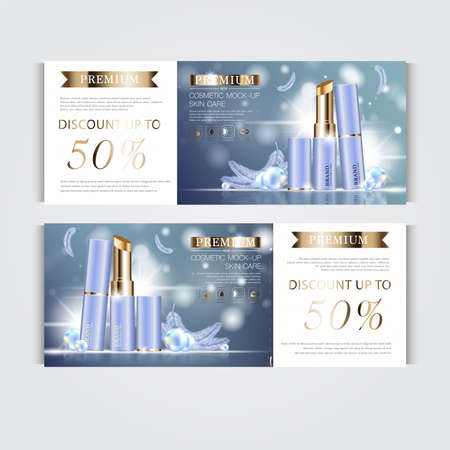 Gift voucher hydrating facial lipstick for annual sale or festival sale. silver and gold lipstick mask bottle isolated on glitter particles background. Banner graceful cosmetic ads, illustration.