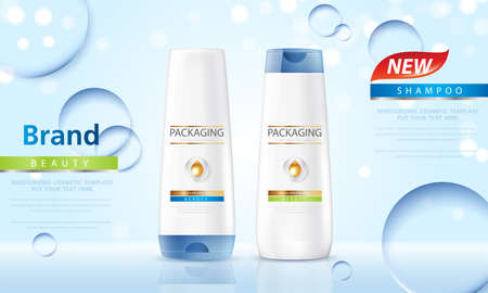 Packaging products hair care design Bottles of shampoo. Cosmetic for design on blue background. Vector illustration.
