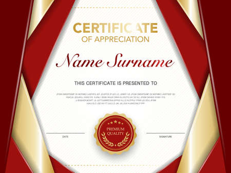diploma certificate template red and gold color with luxury and modern style vector image, suitable for appreciation. Vector illustration. Vektorgrafik