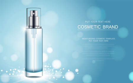 cosmetic product poster, bottle package design with moisturizer cream or liquid, sparkling background with glitter polka, vector design. Vecteurs