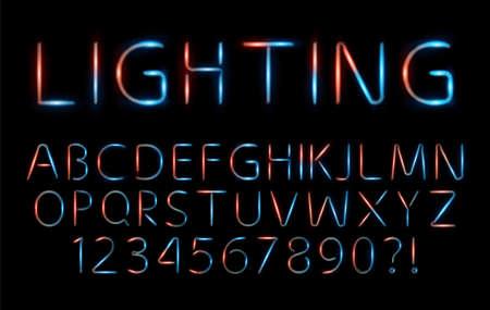 Set of Elegant red and blue neon alphabet font for logo, Poster, Invitation. vector illustration Logo