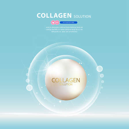 Collagen serum and vitamin background concept skin care cosmetics solution. 版權商用圖片 - 155051114