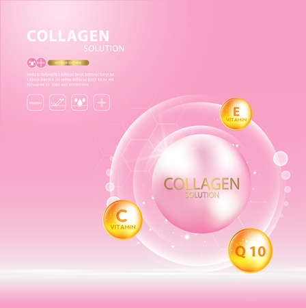 Collagen serum and vitamin background concept skin care cosmetics solution.