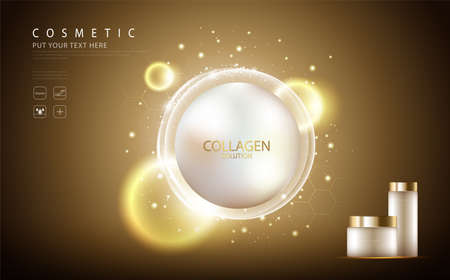 cosmetic product poster, bottle package design with collagen cream or liquid, sparkling background with glitter polka.