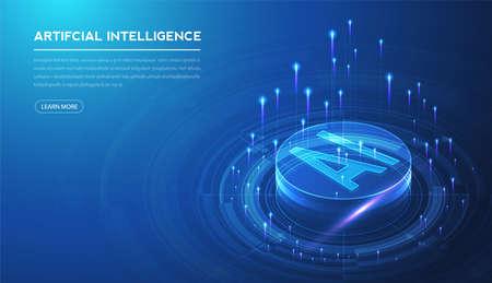 Artificial intelligence, machine learning, ai, data deep learning for future technology artwork, mining, isometric, neural network, machine programming and Responsive web banner. Illustration. Vektorgrafik