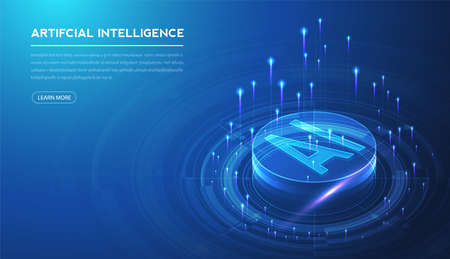 Artificial intelligence, machine learning, ai, data deep learning for future technology artwork, mining, isometric, neural network, machine programming and Responsive web banner. Illustration. Vector Illustration