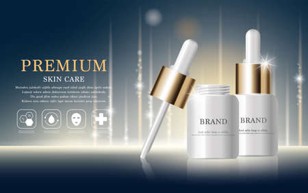 Hydrating facial serum for annual sale or festival sale. silver and gold serum mask bottle isolated on glitter particles background. Graceful cosmetic ads, illustration. Vector Illustration