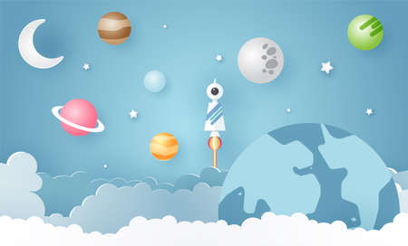 Escape from the city, illustration of love travel day, paper art of rocket on mound with the solar system at back, vector paper art and craft style illustration.