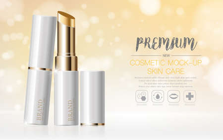 Hydrating facial lipstick for annual sale or festival sale. silver and gold lipstick mask bottle isolated on glitter particles background. Graceful cosmetic ads, illustration. Stock fotó - 155422910